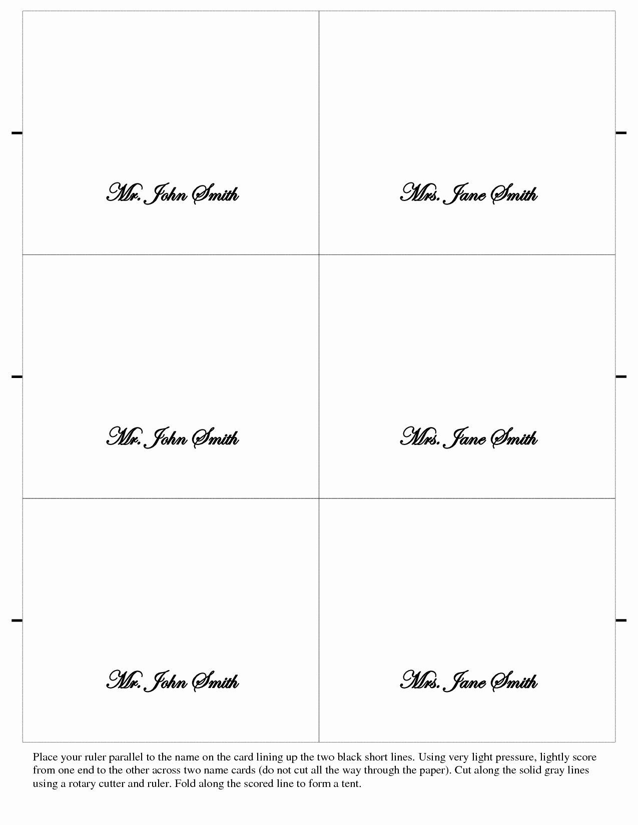 7 Best Of Printable Folded Place Card Template