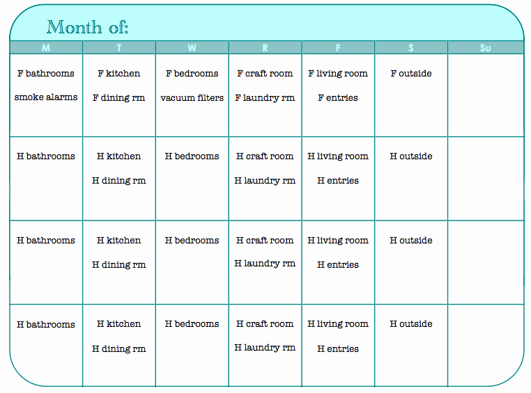 7 Best Of Printable Monthly Chore Calendar
