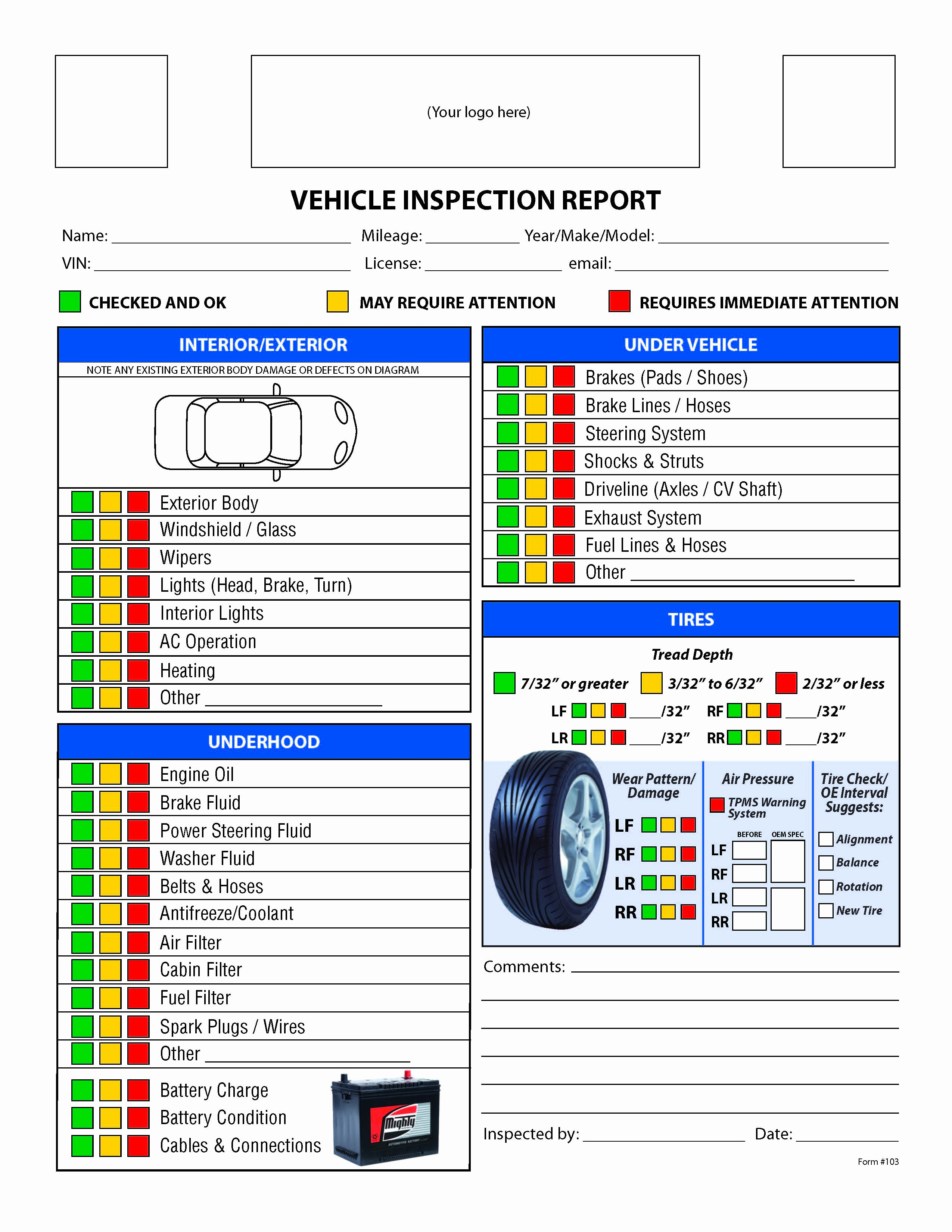 7 Best Of Printable Vehicle Inspection Checklist