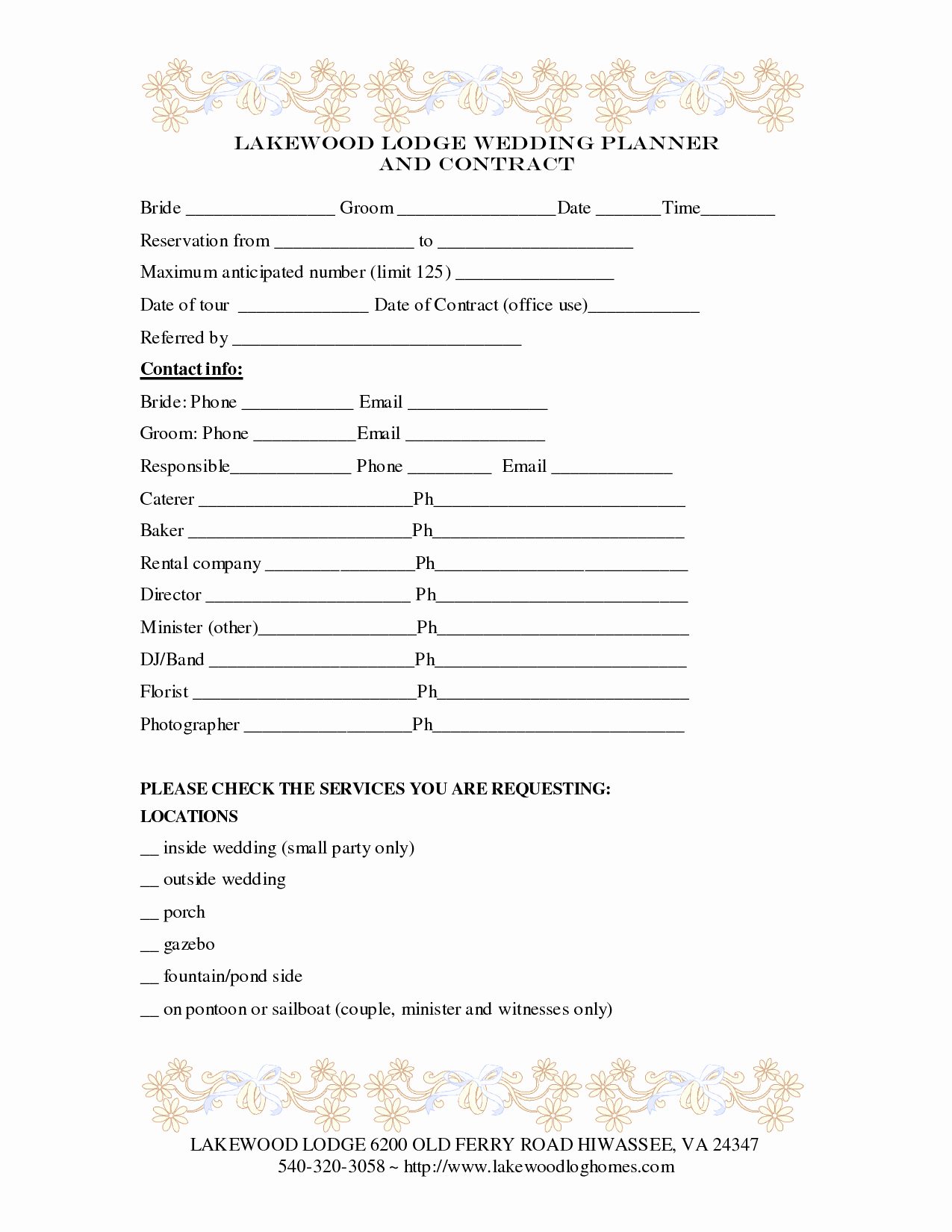 7 Best Of Printable Wedding Planner Contract