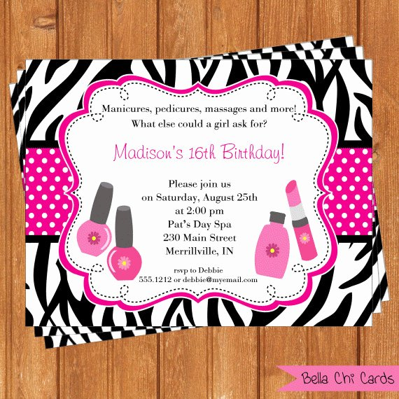 post spa party invitations printable and editable