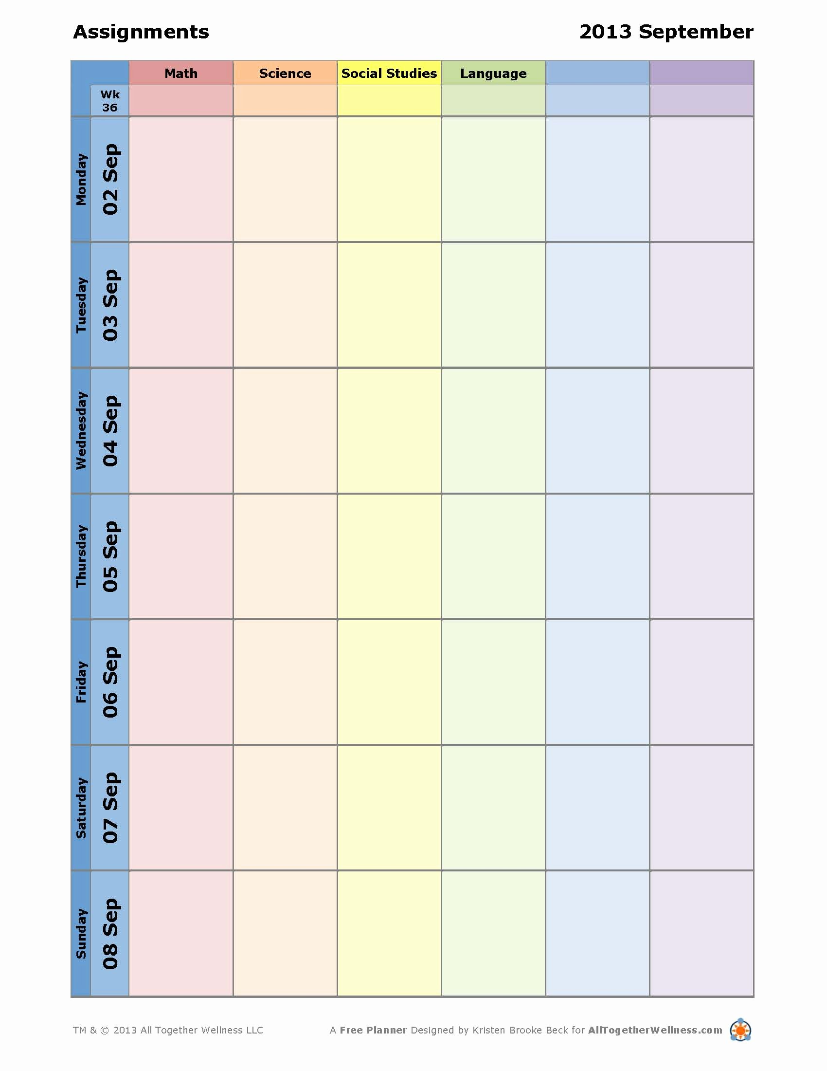 7 Best Of Student Planner Template Printable