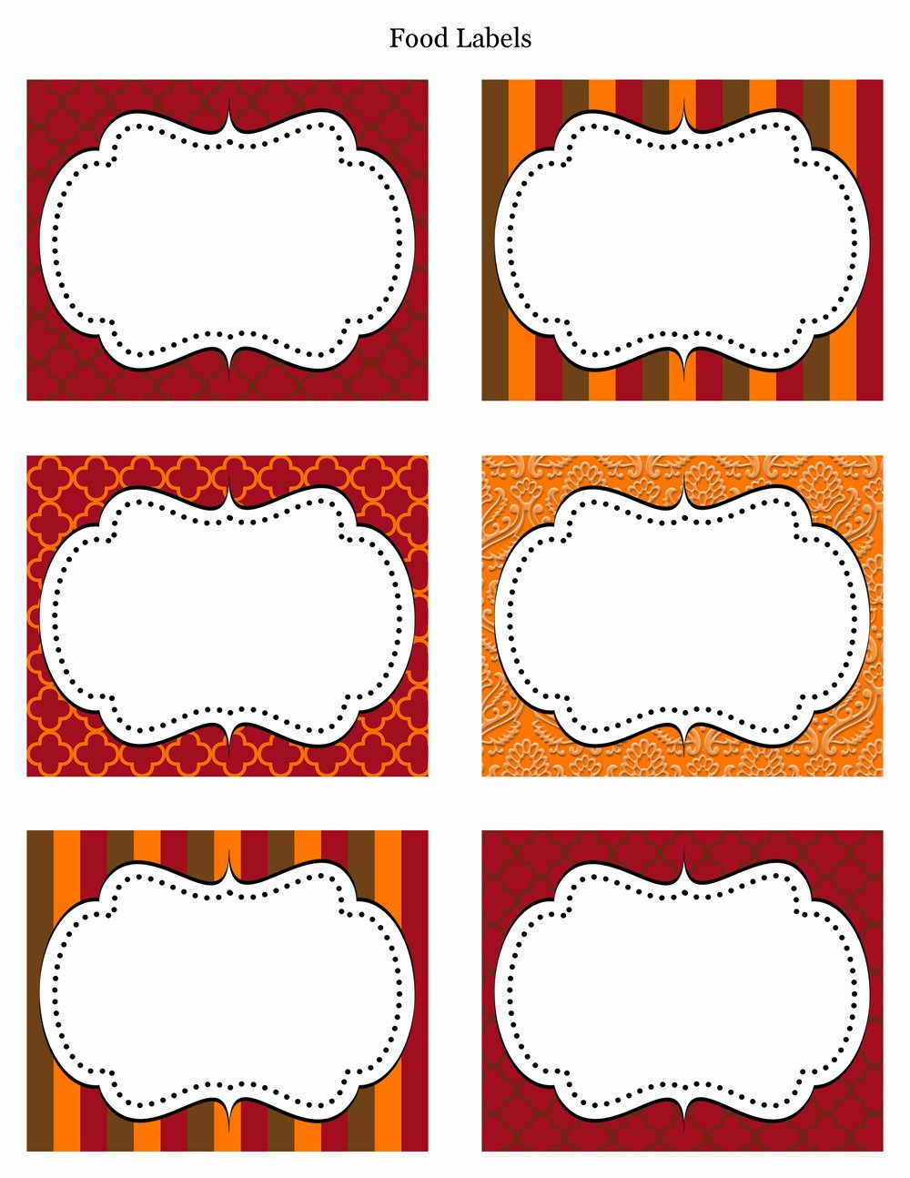7 Best Of Thanksgiving Printable Food Label
