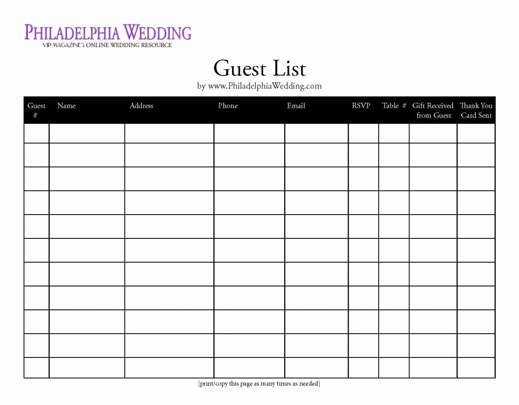 7 Best Of Wedding Guest List form Printable Free