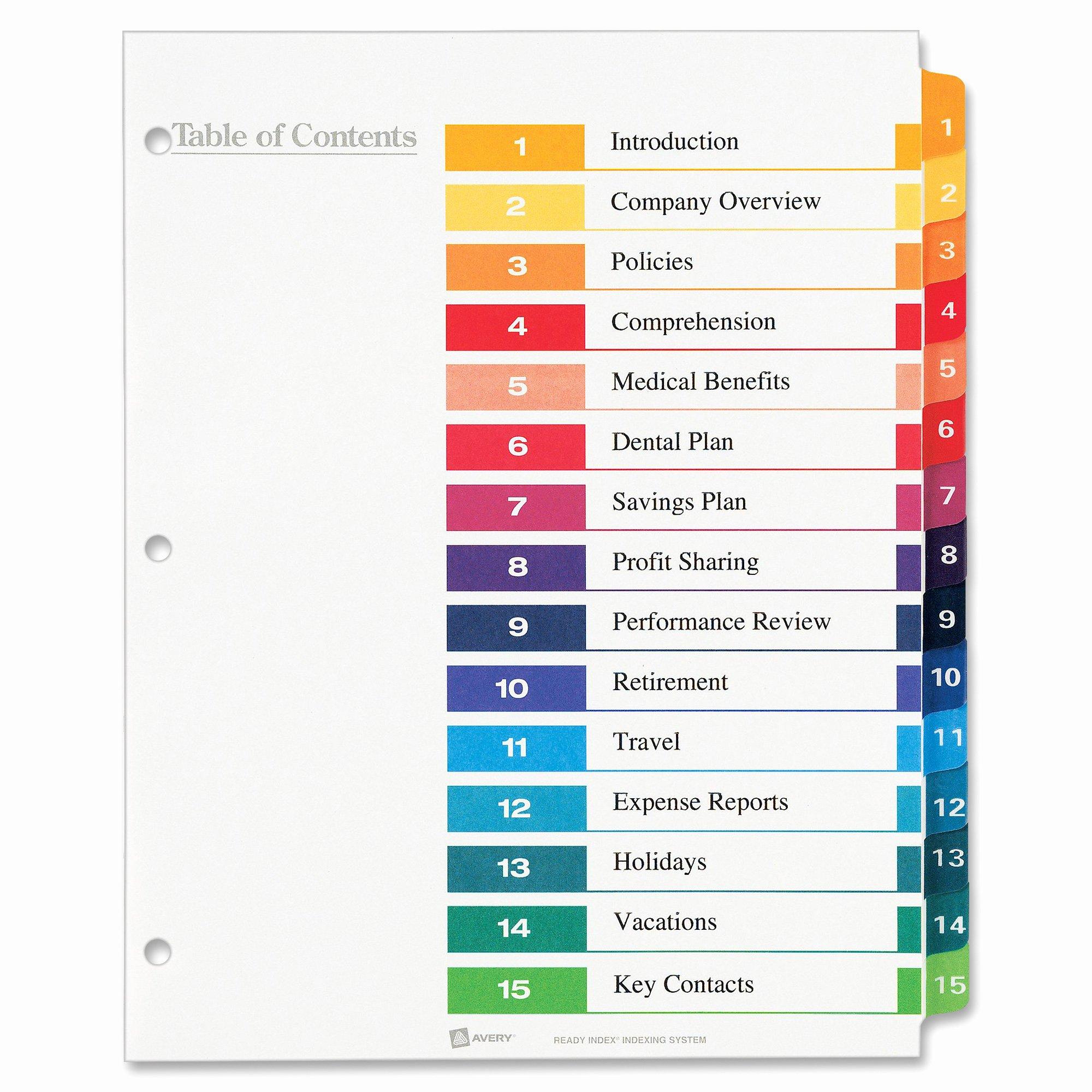 7 Best Of Word Printable Tab Index Page Blank