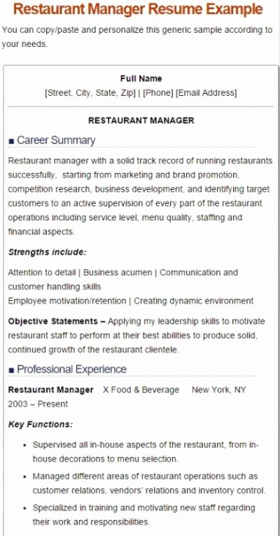 7 Best Restaurant Manager Resume