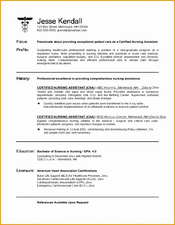 7 Best Resume Cna No Experience Free Samples Examples