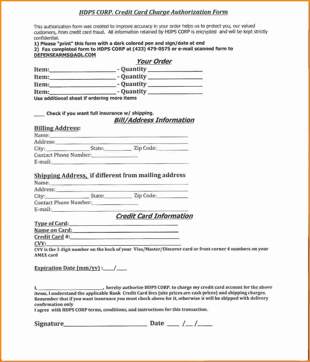 7 Blank Credit Card Authorization form