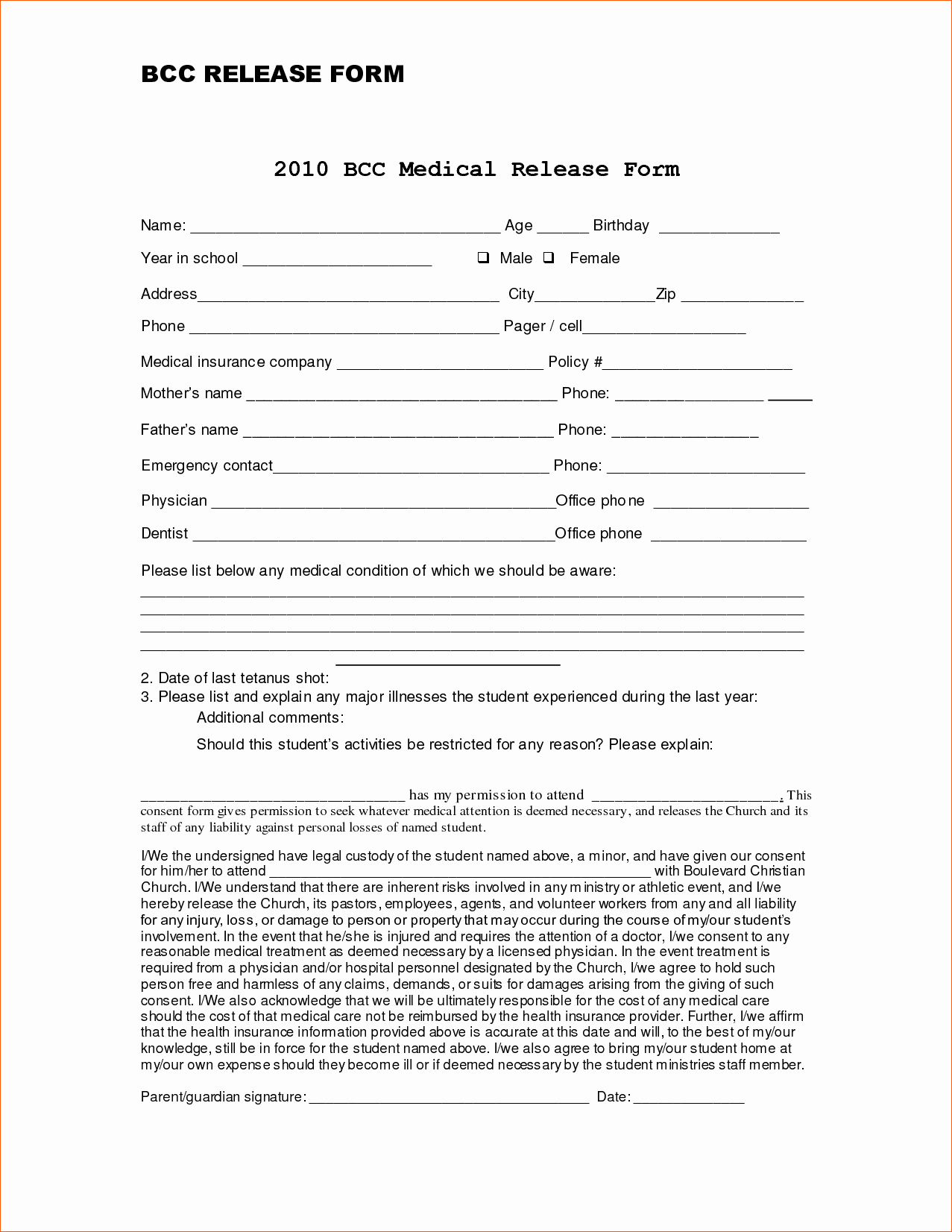7 Blank Medical Records Release form