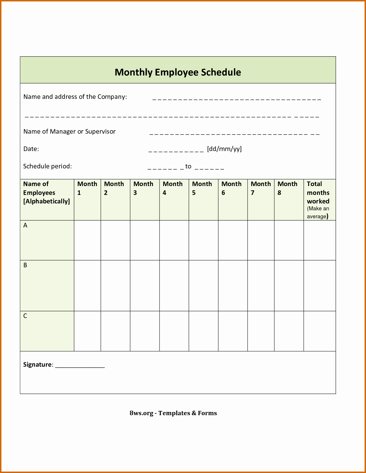 7 Blank Monthly Employee Schedule Template