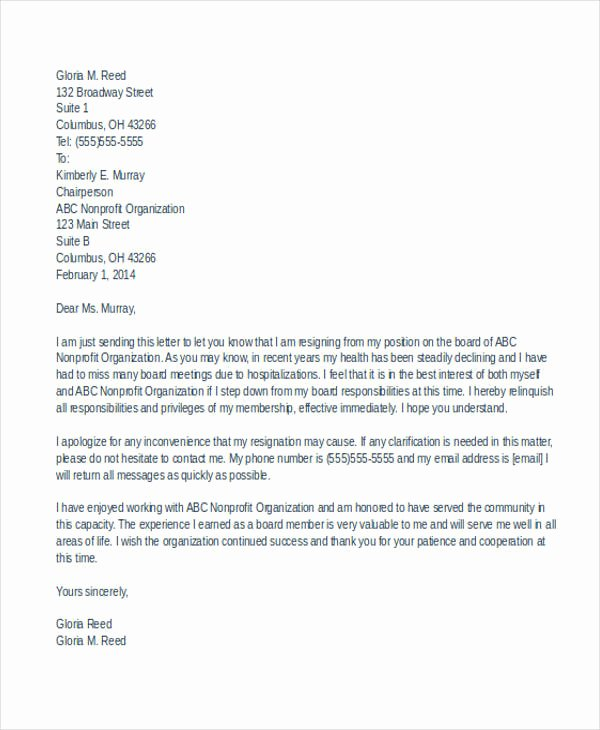 7 Board Resignation Letters Free Sample Example format