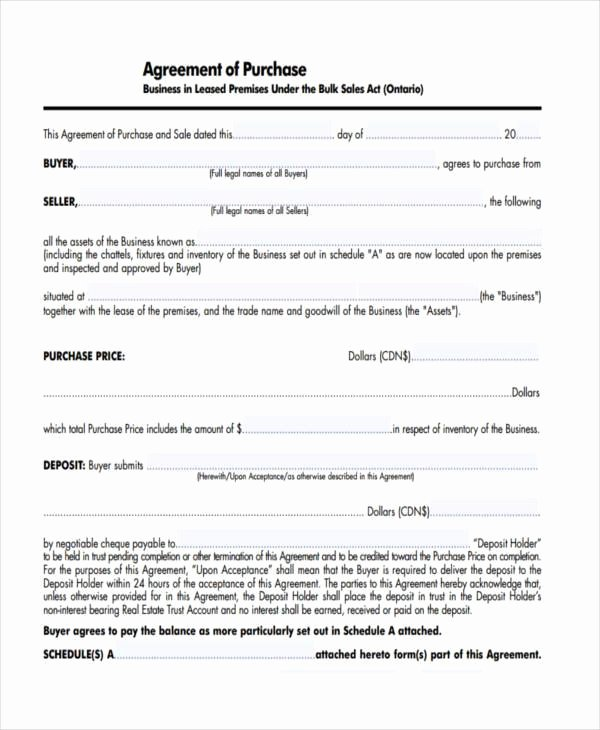 7 Business Purchase Agreement form Samples Free Sample