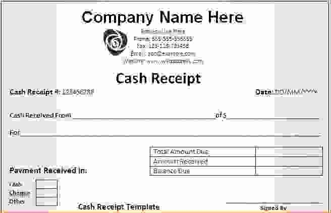 7 Cash Receipt Template Word