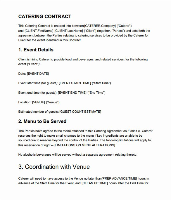 7 Catering Contract Templates – Free Word Pdf Documents
