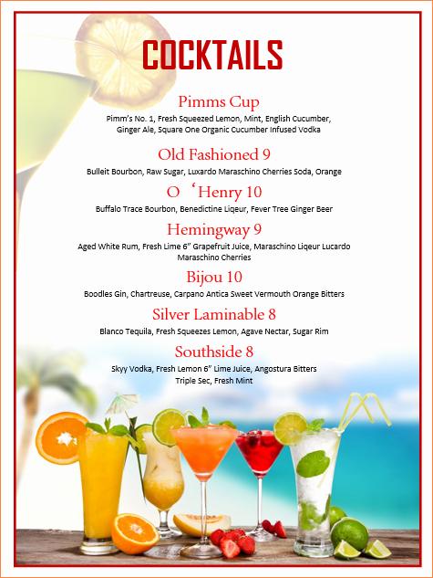 7 Cocktail Menu Template