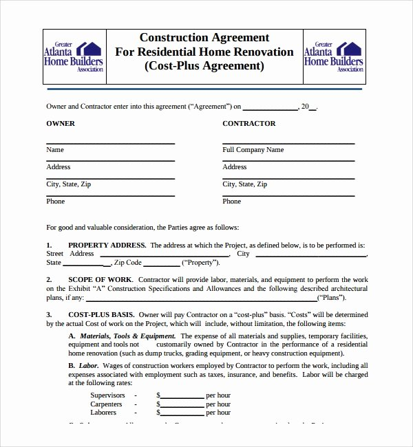 7 Construction Agreement Templates