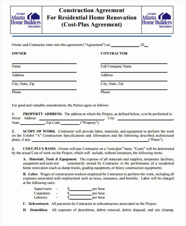 7 Construction Contract Template – Free Sample Example