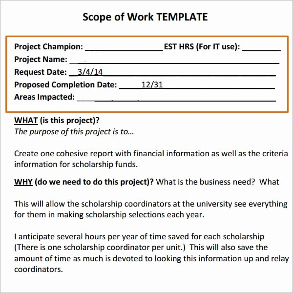construction scope of work templates
