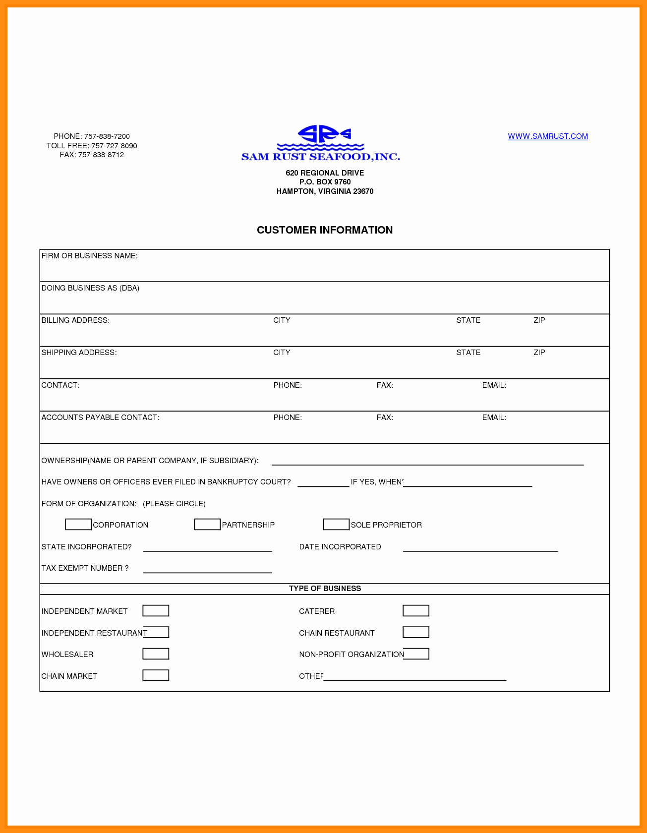 7 Customer Information form Template