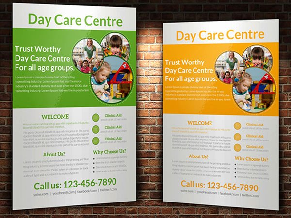 7 Day Care Flyers Psd format Download