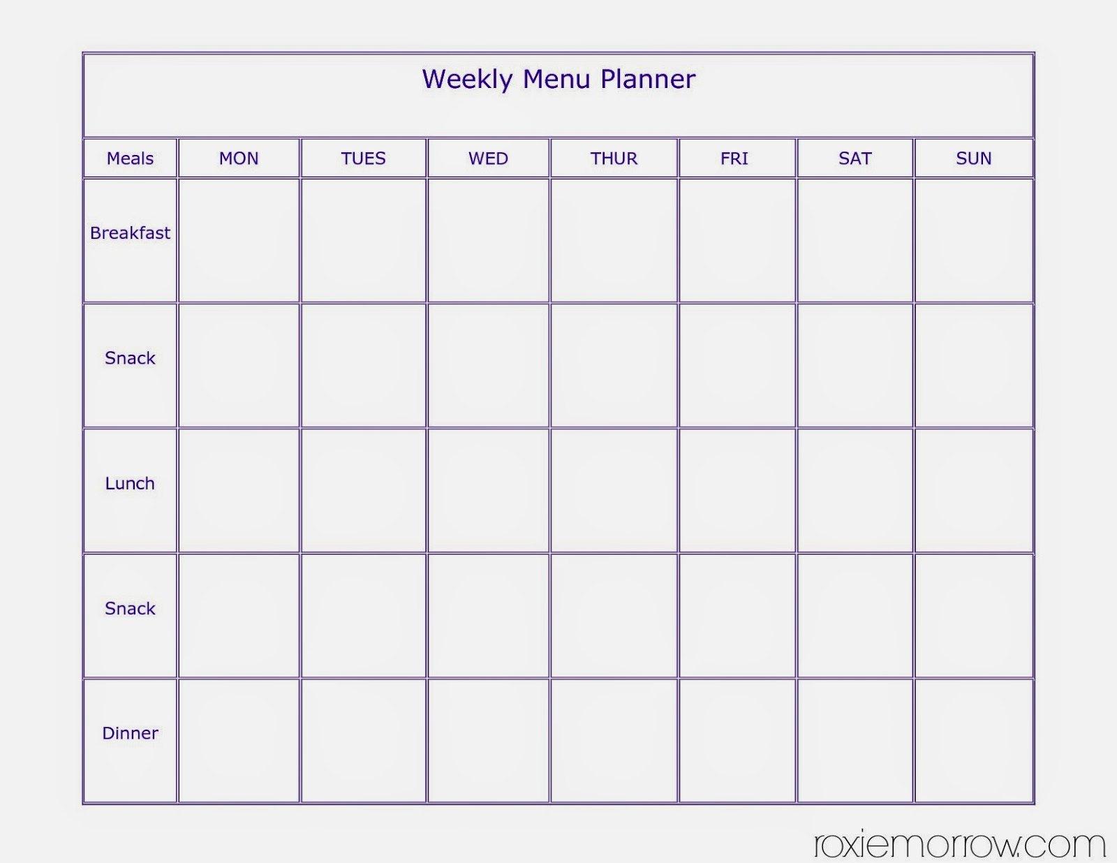 7 Day Menu Planner Tierianhenry