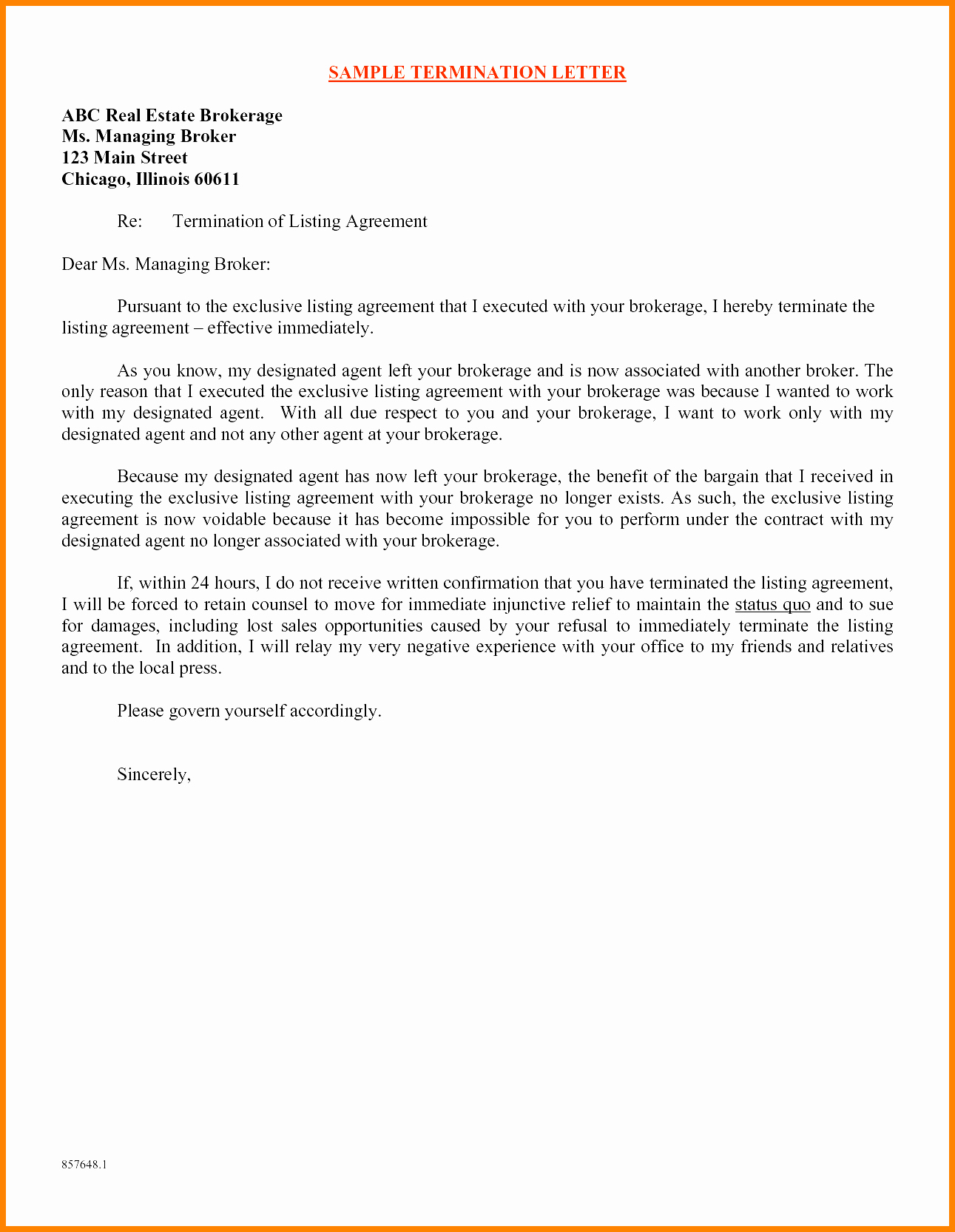 7 Daycare Termination Letter