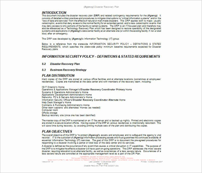 7 Disaster Recovery Plan Templates Free Pdf Doc formats