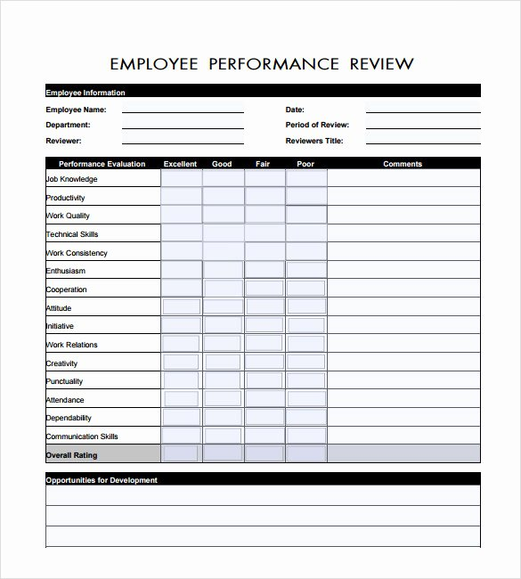 7 Employee Review Templates – Pdf Doc