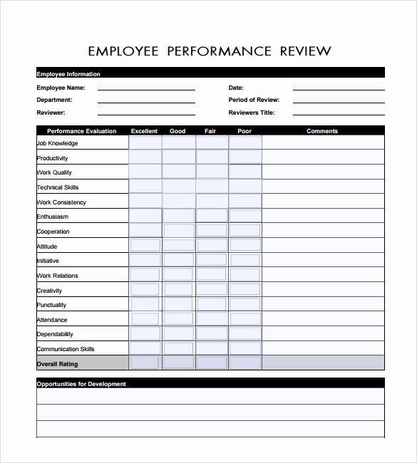 7 Employee Review Templates – Pdf Doc