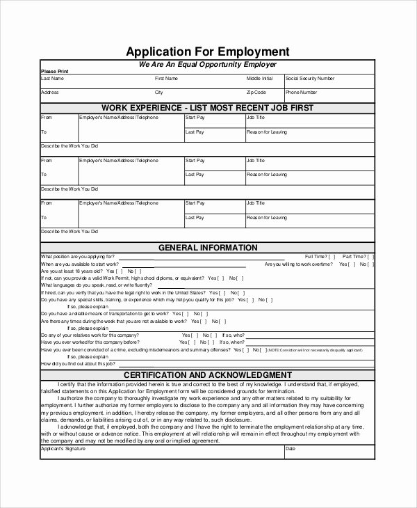 7 Employment Application form Samples Examples