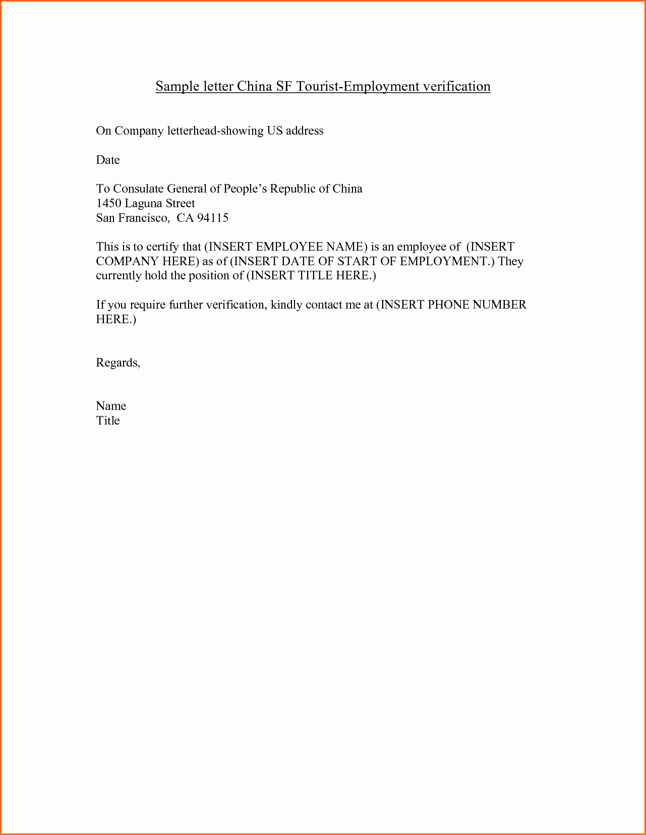 7 Employment Verification Letter Template Bud
