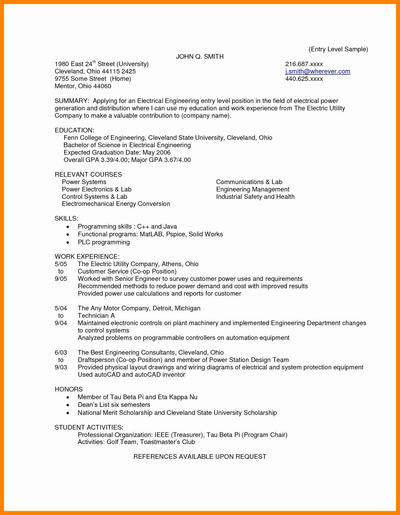 7 Entry Level Electrical Engineering Resume Resume