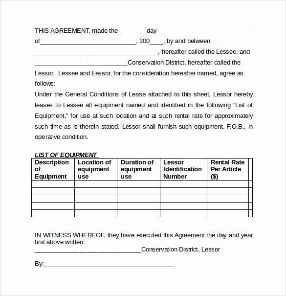7 Equipment Lease Agreement Templates – Samples Examples