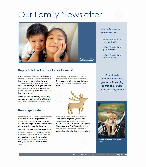 7 Family Newsletter Templates – Free Word Documents