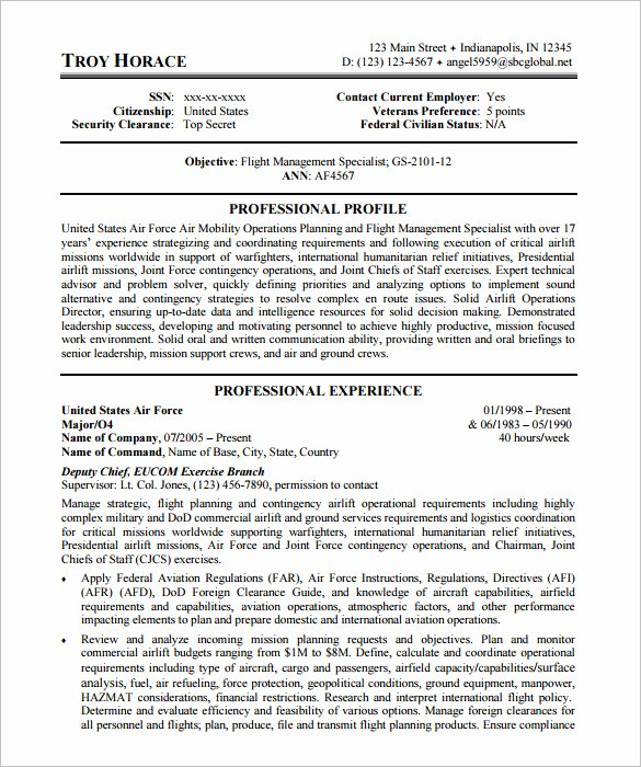 7 Federal Resume Template Word Pdf