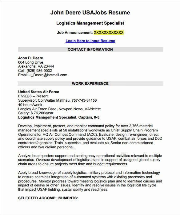 7 Federal Resume Template Word Pdf