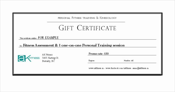 7 Fitness Gift Certificate Templates – Free Sample