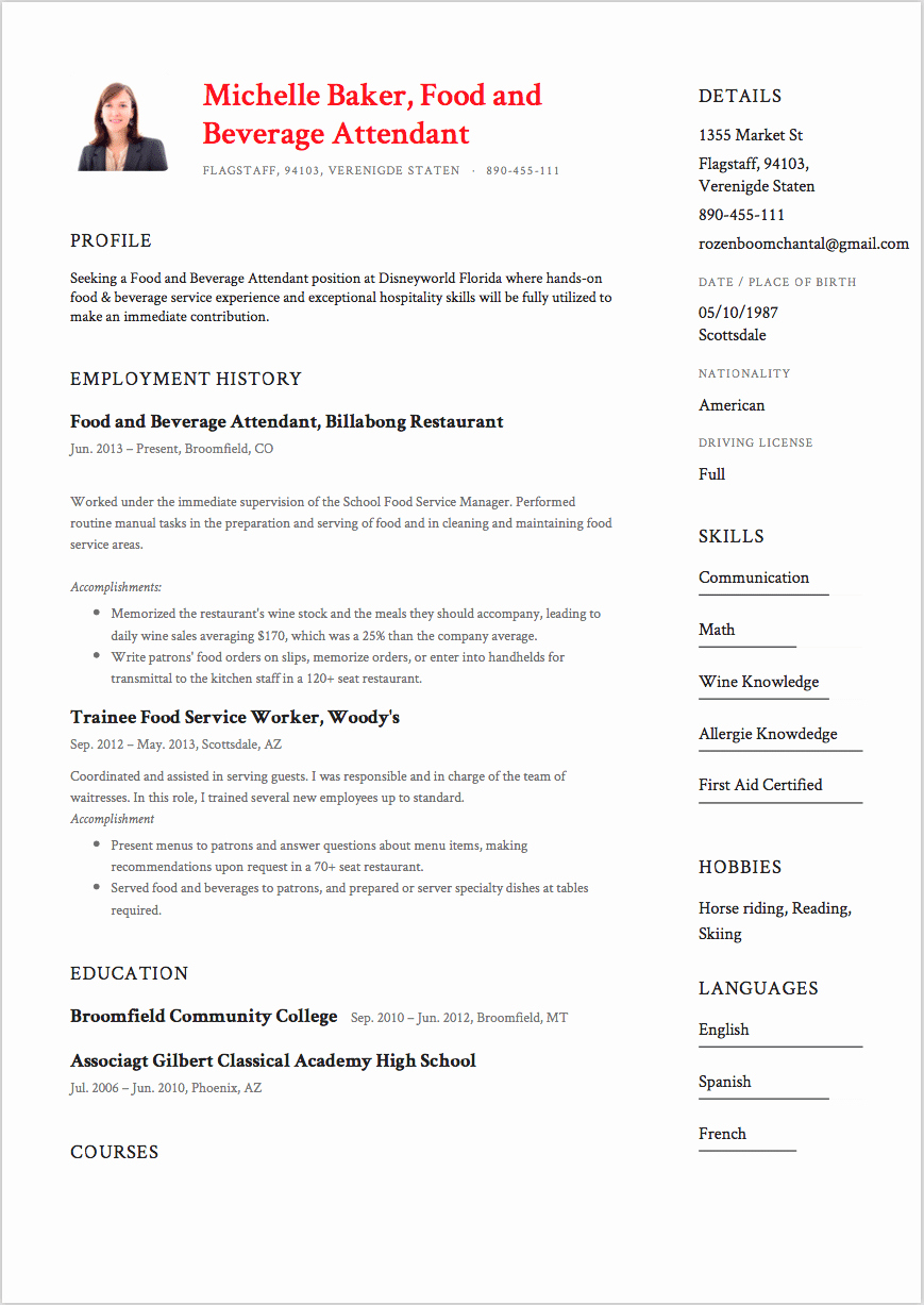 7 Food and Beverage attendant Resume Sample S 2018