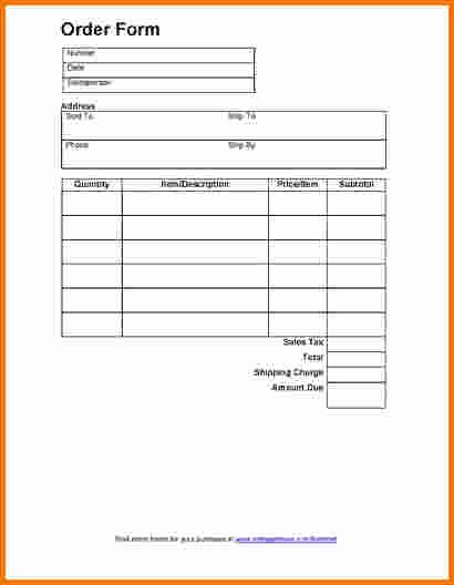 7 Food order form Template Word