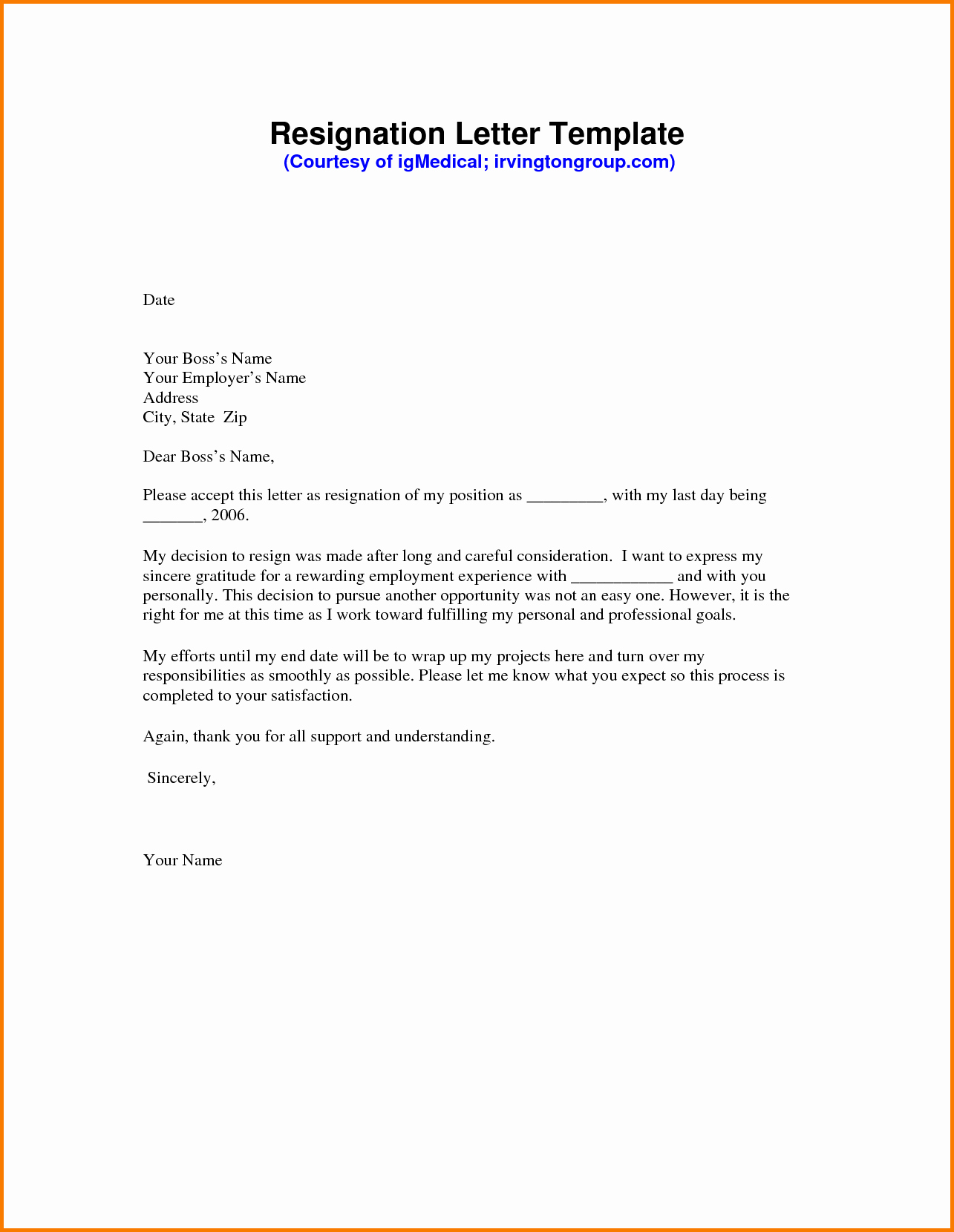 7 formal Letter Of Resignation Template