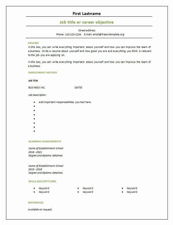 7 Free Blank Cv Resume Templates for – Free Cv