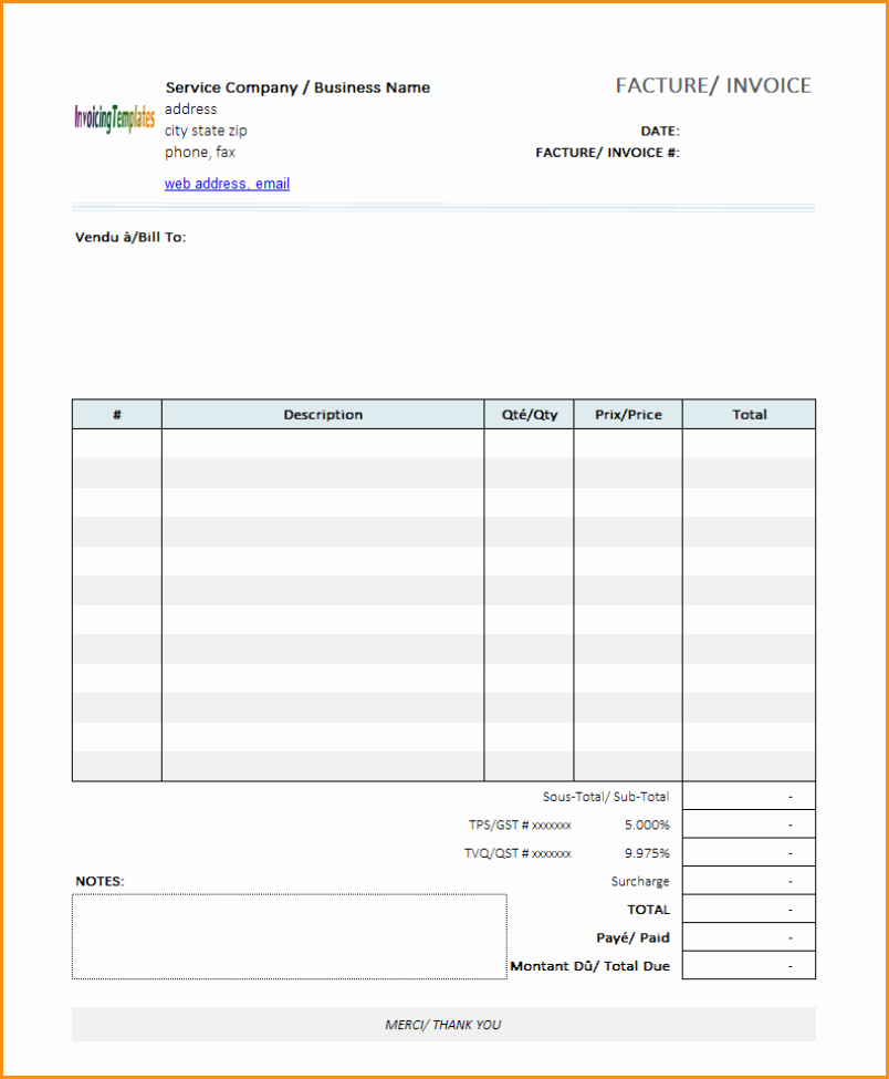 7 Free Invoice Template for Mac