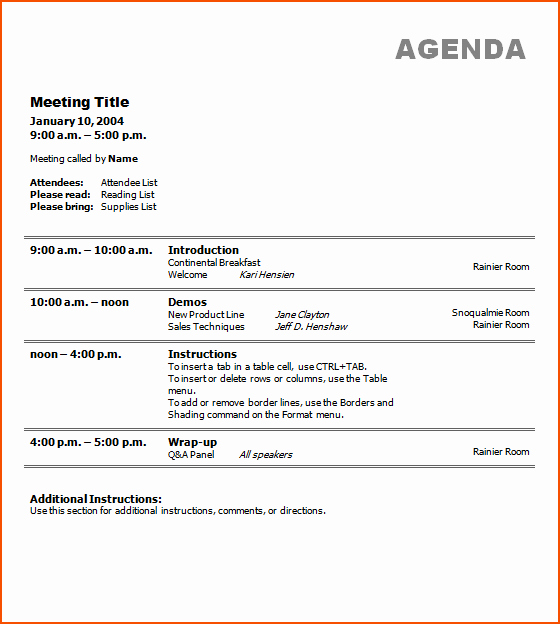 7 Free Meeting Agenda Template Bookletemplate