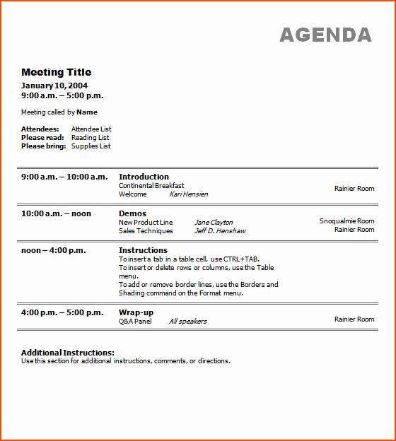 7 Free Meeting Agenda Template Bookletemplate