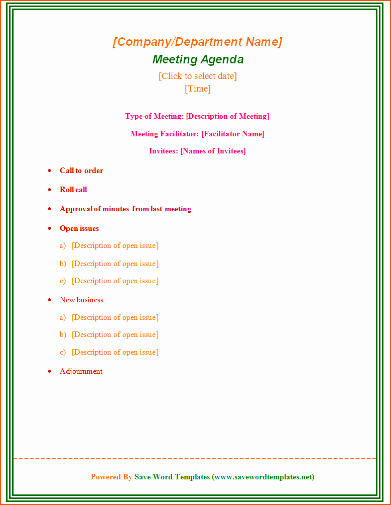 7 Free Meeting Agenda Templates Bookletemplate