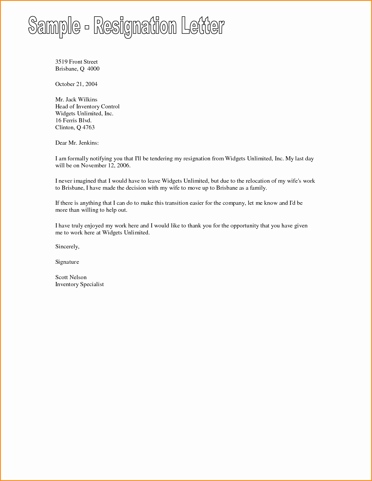 7 Friendly Resignation Letter Template