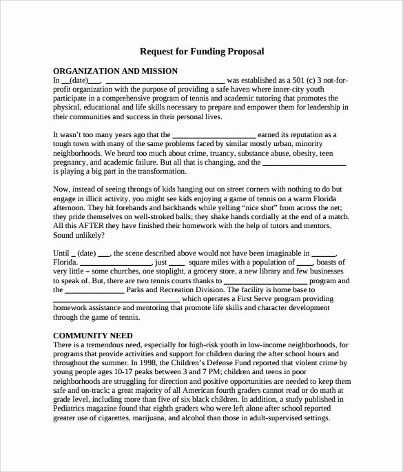 sample funding proposal template
