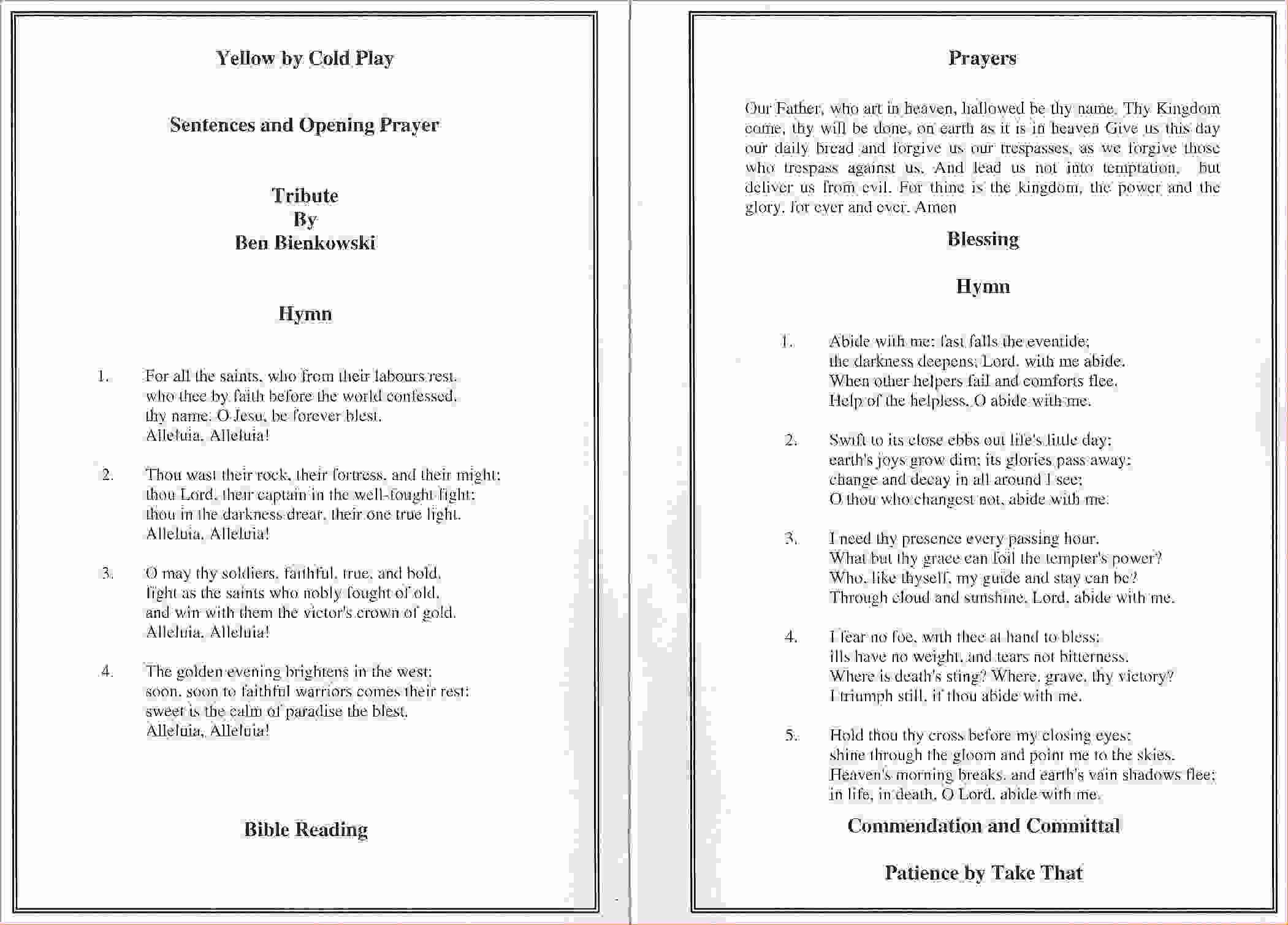 7 Funeral order Service Templateagenda Template Sample