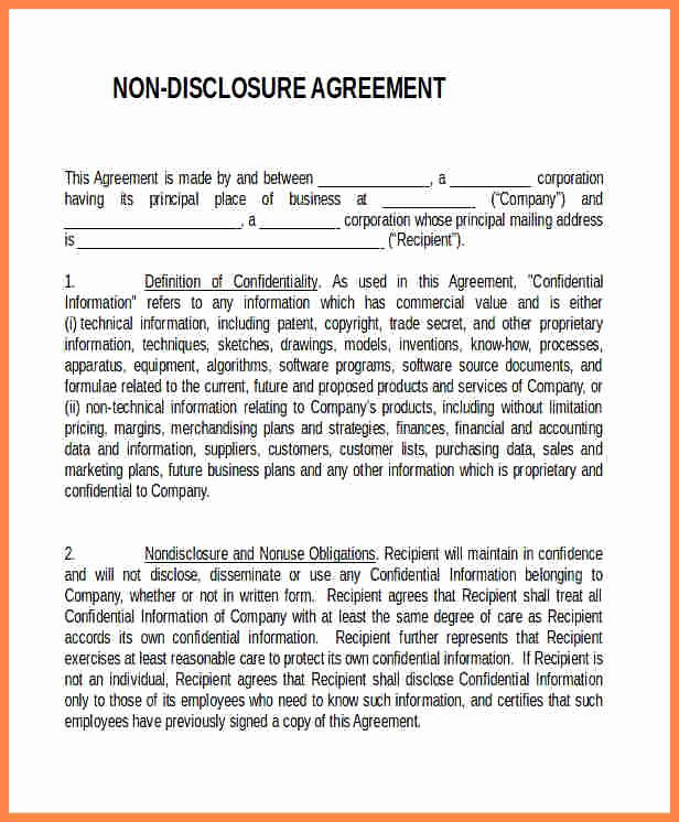 7 Generic Non Disclosure Agreement Template