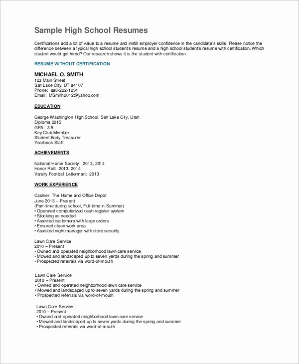 7 High School Resume Samples